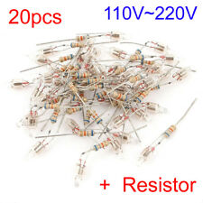 20Pcs 5x13mm Head Red Orange Light Neon Bulb Indicator Lamp 100V-220V + Resistor
