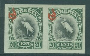 Liberia 1906, 20c bird official, IMPERFORATE PAIR NH #O51