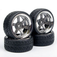 4Pcs/Set RC Tires and Wheels Rim 12mm Hex For HPI HSP 1:10 On Road Racing Car