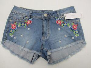 NWT Girls Rue 21 Flower Cute Cutoff Denim Shorties Shorts Size 5/6