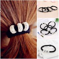 Band Rope Elastic Ponytail Holder 2pcs Women Rhinestone Crystal Balls Hair Tie