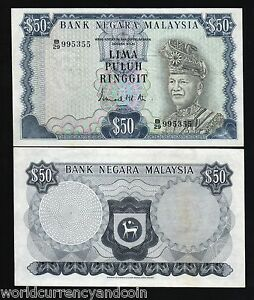MALAYSIA 50 RINGGIT P10 1972 KING DEER LARGE AUNC RARE WORLD MONEY BILL BANKNOTE