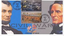 JVC CACHETS -2013 CIVIL WAR VICKSBURG/GETTYSBURG DUAL CANCEL FIRST DAY COVER FDC