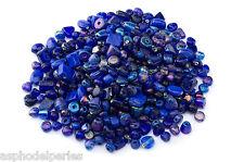 Mélange de perles de verre artisanales variées couleurs bleu marine brillant 50g