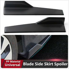 Universal Fit Black Side Skirt Rocker Splitters Winglet Wings(measure your car)