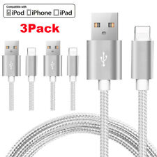 3 PACK Heavy Duty Lightning USB Data Cable Charger Cord for iPhone X XS XR 8 7 6