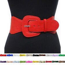 Womens Belt Wide Buckle Elastic Stretch Women Faux Leather Skinny Waist Dress US