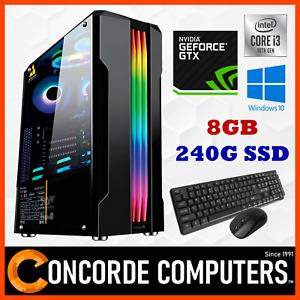 Intel Quad Core GTX 1660 SUPER 8GB 240G SSD Gaming PC Computer System Desktop