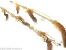 New Long Feather Earrings Shoulder Dusters Brown w Leaf & Flower Charms