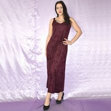 Wine Red Soft Velvet Evening Dress M Maxi Sheath Cocktail Prom