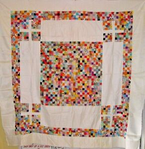 VINTAGE  QUILT TOP TOPPER HAND PIECED NOVELTY PRINTS 30S/40S hundreds of pieces