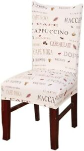 SoulFeel Soft Stretchable Dining Room Chair Cover Coffee Themed Cover