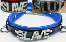 Chrome or crystal Letter leather collar ---ANY WORD--- or Name!