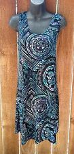 Jostar Persian Tribal BLUE Geometric  TANK DRESS No Iron Travel Fabric XL