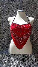 10 Red Bandana Halter Tops- Backless Halter Tops - Womens Paisley  lot of 10