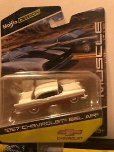 1/64 MAISTO MUSCLE 1957 CHEVROLET CUSTOM BEL AIR BROWN AND WHITE