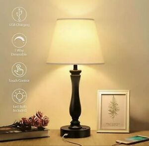 Touch Control Table Lamp Dimmable Bedside Lamp with USB Charging Port, Boncoo