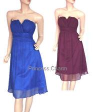 Knee Length Polyester Strapless Dresses for Women