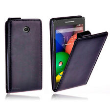 Premium Black Flip Leather Case Cover for Motorola Moto E