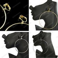 "CLIP ON 7/9/10cm HOOPS fashion SILVER/GOLD hoop EARRINGS 3/3.5/4"" big HUGE round"