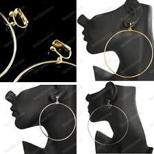 "CLIP ON 7/9/10cm HOOPS fashion SILVER/GOLD hoop EARRINGS 3/3.5/4"" big HUGE round"