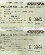 JOHNNY HALLYDAY 2 TICKETS DE CONCERT ORIGINAL VINTAGE 28 09 1990 POPB PARIS
