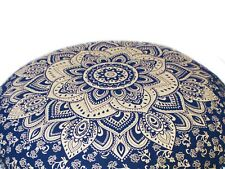 "32"" Indian Mandala Round Cushion Cover Cotton Blue & Gold Large Pillow Case"