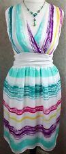 John Lewis ~ size 12 ~ sheer silk, white & multicolour stripe, fit & flare dress