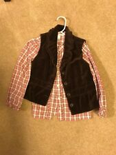 Janie And Jack Western Plaid Print Sz 5T Long Sleeve Button Down Shirt And Vest
