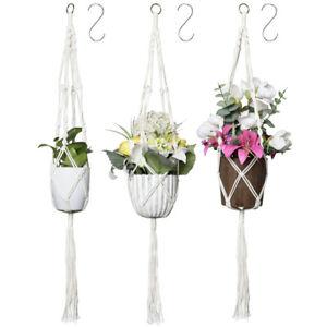 3x Blumenampe Makramee Blumenampel Hängeampel Blumentopf Pflanzen Halter