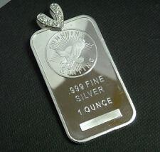 NEW 1 Oz 999 Fine Silver Eagle Sun Bar Pendant Solid 925 Sterling Silver CZ Bail