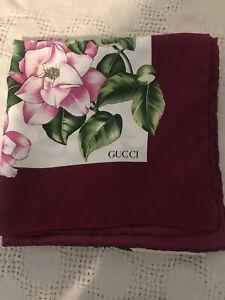 Vintage Vtg Gucci Silk Scarf Shawl Floral Multicolored Border Burgundy 34 Inch