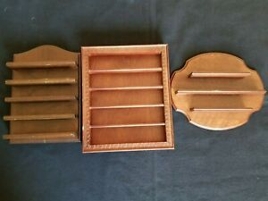 Lot of 3 Beautiful Vintage Wooden Thimble Collectibles Display Wall Shelves