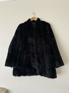 Otex Melbourne Vintage Fur Black Jacket Size 18 In Excellent Condition
