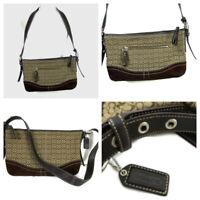 Coach shoulder bag Purse Signature Brown Leather Suede  Logo Med sz  Crossbody
