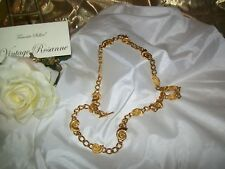 "Anne Klein Vintage Belt Gold Tone Snails Links 13 Station Loop Closure 36"" Long"