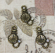 Cute mini Alice In Wonderland bronze pocket watch charms with rhinestone x10