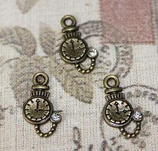 Cute mini Alice In Wonderland bronze pocket watch charms with rhinestone x10