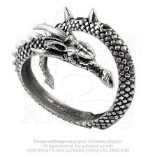 Alchemy Gothic Vis Viva Dragon Serpent English Pewter Hinged Bangle Bracelet