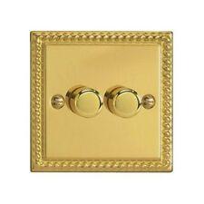 Varilight Classic 2 Gang 2 Way Push On/Off LED Dimmer Switch - Georgian Brass