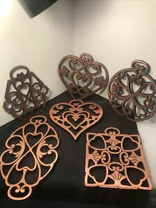 LOT of 6 Cast Iron Copper Colored Pampered Chef Trivets