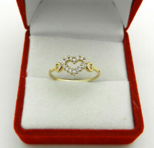 CUTE & ELEGANT 14k Gold HEART Shape Clear Stone PROMISE Ring size 6.5