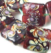 "Lampwork Handmade Glass ""Amber Wonder"" Square Beads 16mm  (8)"