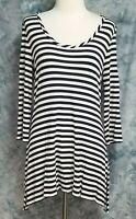 Soft Surroundings Womens sz S Blue White Striped Asymmetric Stretch Tunic Top
