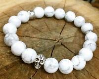 "Pure  Howlite Beaded Stretch  Silver Skull Bracelet White 7"""