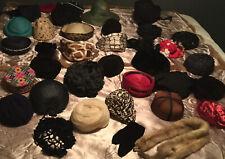 35+ Vintage Ladies Hat Lot 40s 50s 60 Straw Fur Velvet Saks 5th Av Designer