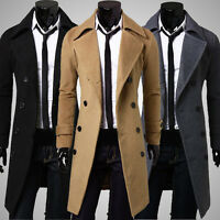 2017 Men's Slim Stylish Trench Coat Winter Long Jacket Double Breasted Overcoat