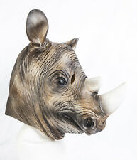 Deluxe Rhinoceros Rhino Mask Latex Fancy dress Costume Mammal Zoo Safari Animal