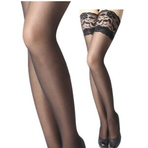 LACE TOPPED THIGH HIGH SHEER FISHNET STOCKINGS LADIES - HOLD UPS