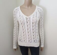 NEW Abercrombie Womens Open Stitch Knit V-Neck Sweater Size XS Top Shirt Cream